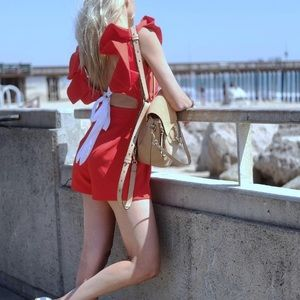 Cute Red Romper With Ruffles and Back Bow 🎀